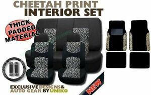17 Piece Animal Print Seat Covers And Twgift Set Two Tone Mesh Yellow Cheetah