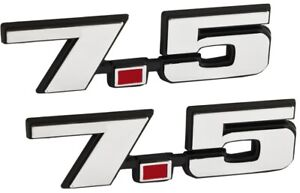 7 5 Liter 460 Ford Big Block V8 Engine Logo Emblems W Chrome Red Trim Pair