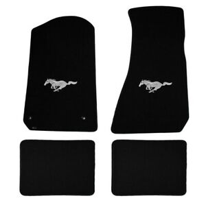 1994 2004 Ford Mustang 4pc Black Floor Mats Set Silver Running Horse Pony Logo