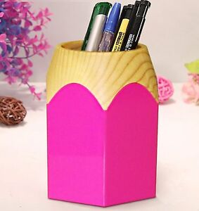 Ms006 Adorable Pencil Tip Design Pen Pencil Cup Holder Pink Desk Organizer