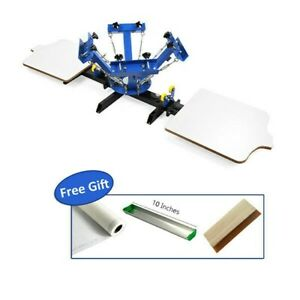 Us 4 Color 2 Station Silk Screen Printing Machine 4 2 Press Diy T shirt Printing