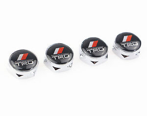4x Trd Car License Plate Frame Screw Bolt Caps Cover For Toyota Camry Corolla