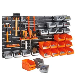 Vonhaus 44 Piece Pegboard Wall Mounted Panel Set Garage Tool Storage Organizer