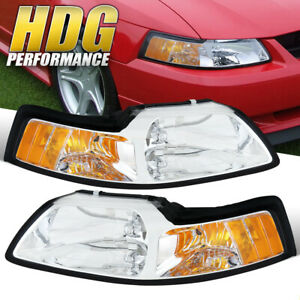 1999 2004 Ford Mustang Chrome Housing Headlights With Amber Reflectors Pair