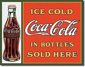 COCA COLA metal sign Ice cold coke in bottles sold here vintage style ad   1047