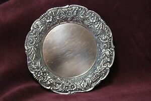 S Kirk Son Repousse Sterling Silver 925 Butter Pat Dish 17f 1 3 Oz