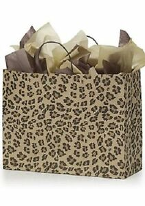 Paper Bags 50 Large Leopard Skin Retail Merchandise Shopping Chee