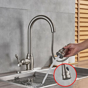 Fapully Commercial Pull Out Kitchen Sink Faucet With Sprayer Brushed Nickel Tap