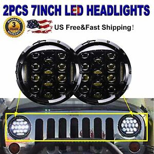 7inch Cree Round Led Headlights Halo Drl Hi Low Beam Bulb For Vw Beetle Classic
