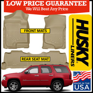 Husky Liners Weatherbeater 2007 2014 Chevy Tahoe Front 2nd Row Floor Mats Tan