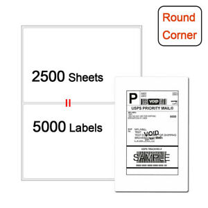 5000 Shipping Labels 8 5 X 5 5 Round Corner Self Adhesive 2 Per Sheet Usps Ups