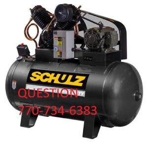 Schulz Air Compressor 7 5hp Three Phase 80 Gallon Tank 30cfm New