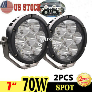 2x 7inch 70w Round Led Work Light Spot Driving Fog Lamp For Offroad Jeep 4wd Suv