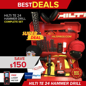 Hilti Te 24 Hammer Drill Nice Condition Free Laser Meter Extras Quick Ship