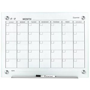 Calendar Schedule Glass Dry Erase Magnetic Board 2 X 1 5 Ft White Surface New