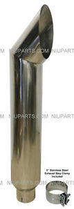 8 Cat Polished Stainless Exhaust Stack 5 Id Inlet 48 Long