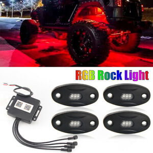 White Rock Lights Aluminum Wireless W bluetooth Music Rgb Color Accent Under Car