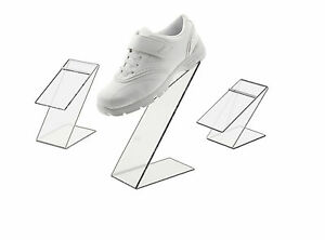 Black Slant Back Acrylic Shoe Risers Display Stand Set Of 3
