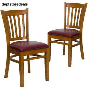 Furniture Restaurant Chair Burgundy Vinyl Seat Set Of 2 Series Slat Wood Foam