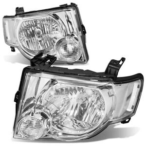 Fit 2008 2012 Ford Escape Suv Pair Chrome Housing Clear Side Headlight Lamp Set