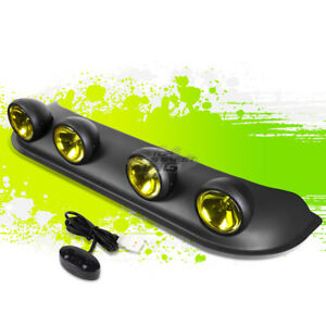 Universal Offroad Roof Top Light Bar 4x Round Amber Yellow Fog Rally Lamp Switch
