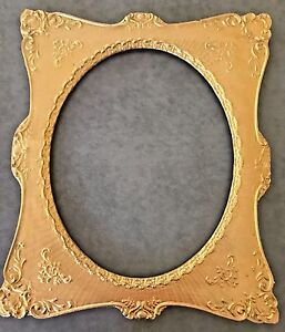 Rare Antique 1850 1899 Ornate Gold Wooden Picture Mirror Frame With Oval Opening