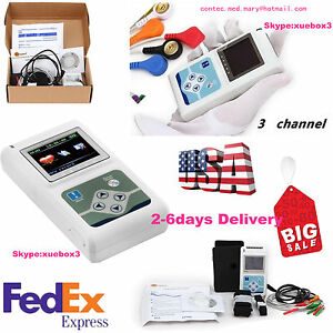 Ecg ekg Holter System 3 Channel 24 Hours Recorder Monitor Us software Tlc5007