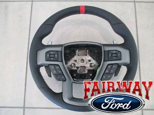 17 Thru 19 F 150 Oem Ford Leather W Red Accent Heated Steering Wheel Raptor