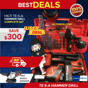 Hilti Te 6 a Hammer Drill W Te Dsr 4 a Preowned Free Grinder Bits fast Ship