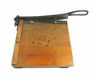 Dandy Wood Paper Cutter Vintage Milton Bradly Cast Iron 8 5 Guillotine Pat 1890