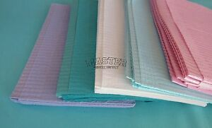 500 Disposable Patient Bibs Assorted Dental Tattoo Medical Spa 2 1 Ply 13 X 18