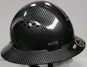Hdpe hydro dipped black full brim hard hat with fas trac suspension Hdpe hydro