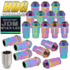 Jdm Sport 16 Neo Chrome Wheel Lug Nuts M12 X 1 25mm Fits Suzuki Subaru Infinti
