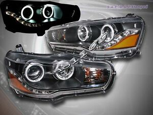 08 09 10 11 Mitsubishi Lancer evo Ccfl Twin Halo Led Projector Headlights Black