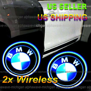 2x Wireless Ghost Shadow Projector Logo Led Door Step Light Courtesy Fits Bmw