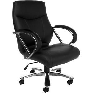 Big Tall Mid back Leather Avenger Series Executive Office Chair