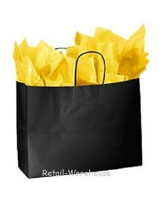 Paper Shopping Bags 100 Glossy Black Retail Merchandise 16 X 6 X 12 vogue
