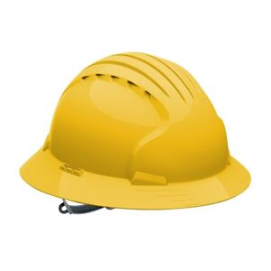 Jsp Full Brim Hard Hat With 6 Point Slip Ratchet Suspension Yellow