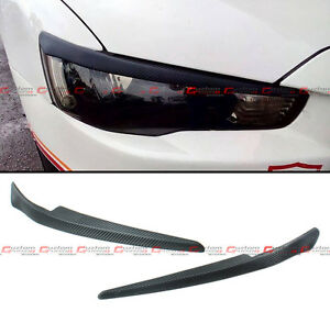 For 08 16 Mitsubishi Lancer Gts Evo X Abs Carbon Texture Headlight Eye Lid Cover