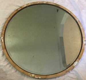 Antique Mirror Large Round Beveled Edge Silverlast Processed 1937 Jamestown Ny