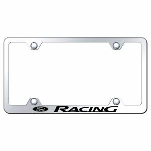 Ford Racing Logo License Plate Frame Mirror Chrome Stainless Steel Wide Body