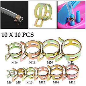 100pcs 6 22mm Spring Clip Fuel Line Hose Water Pipe Air Tube Clamps Fastener