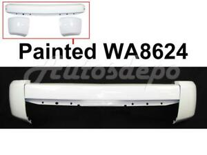Painted White Front Bumper Bar End W o Fog Hole For 2007 2013 Silverado 1500