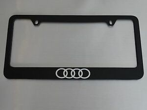 Audi Rings Logo License Plate Frame Glossy Black Metal Brushed Aluminum Text