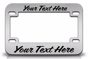Custom Personalized Metal Chrome Motorcycle License Plate Frame Black Font