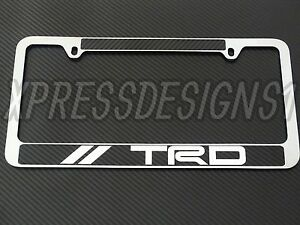 Trd Toyota License Plate Frame Chrome Metal Carbon Fiber Details Chrome Text
