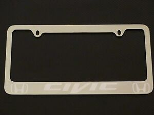 Honda Civic Chrome License Plate Frame Chrome Metal Brushed Aluminum Text