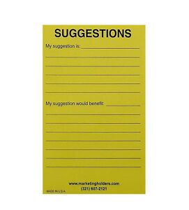 Marketing Holders Suggestion Box Cards 4 w X 6 h Yellow Pack Of 10