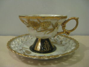 Vintage Cup Saucer Royal Sealy China Japan Gold Black Luster Pottery