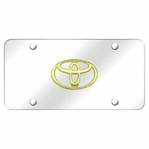 Toyota Logo Gold On Chrome Standard Novelty Front License Plate Genuine Part